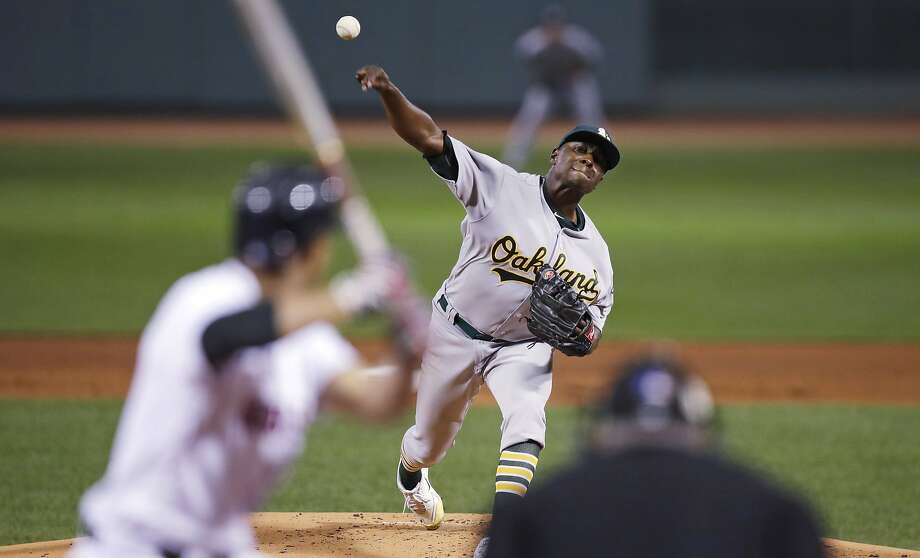 Oakland Athletics starting pitcher Jharel Cotton delivers during the first inning of a baseball game against the Boston Red Sox at Fenway Park in Boston, Wednesday, Sept. 13, 2017. (AP Photo/Charles Krupa) Photo: Charles Krupa, Associated Press