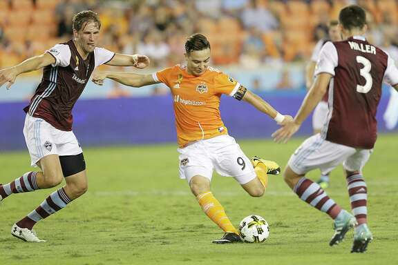 9/9/17: Houston Dynamo forward Erick Torres (9) shoots against \c8\ and Colorado Rapids defender Eric Miller (3) in the first half in a MLS game at BBVA stadium in Houston, TX
