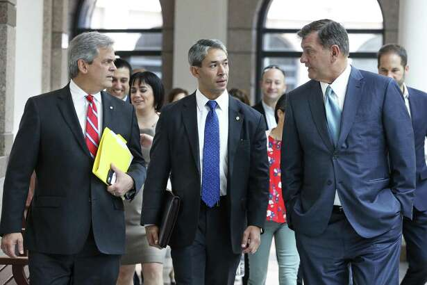 San Antonio Mayor Ron Nirenberg walks with Austin Mayor Adler (left) and Dallas Mayor Mike Rawlings as they head to a meeting earlier this summer in Austin. On Friday, he said local control was clearly under attack during both the regular and special legislative sessions this year.