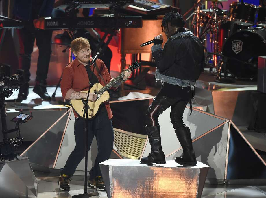 Ed Sheeran (left) and Lil Uzi Vert perform a medley at the MTV Video Music Awards in August. Sheeran has dropped a planned concert at Levi's Stadium because of Santa Clara's 10 p.m. weeknight curfew. Photo: Chris Pizzello, Associated Press