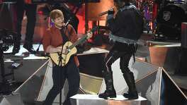 Ed Sheeran, left, and Lil Uzi Vert perform a medley at the MTV Video Music Awards at The Forum on Sunday, Aug. 27, 2017, in Inglewood, Calif. (Photo by Chris Pizzello/Invision/AP)