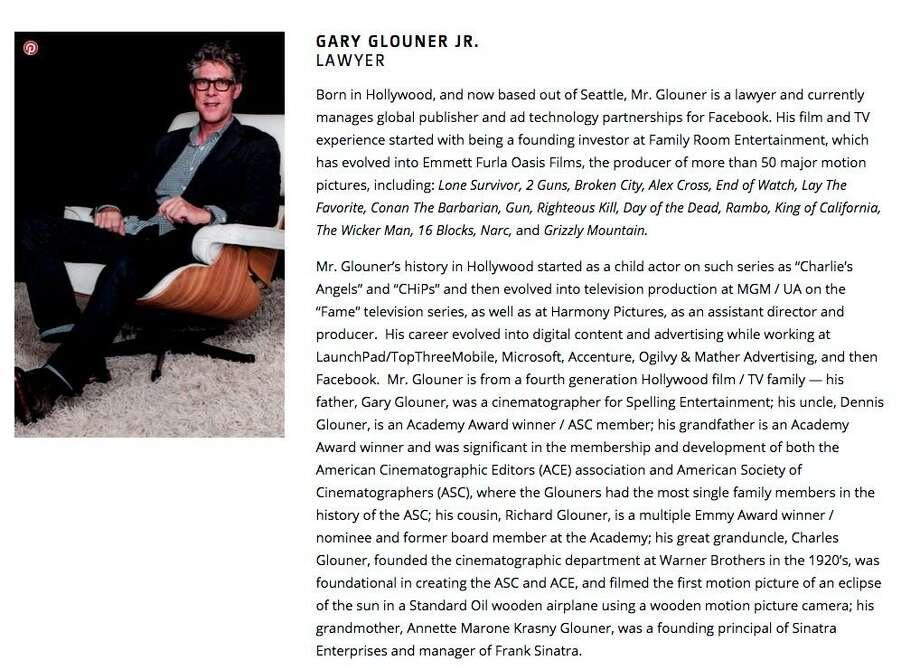 """Gary Glouner Jr., shown in a screenshot from his production company's website, describes himself as a member of a """"fourth generation Hollywood film/TV family."""""""