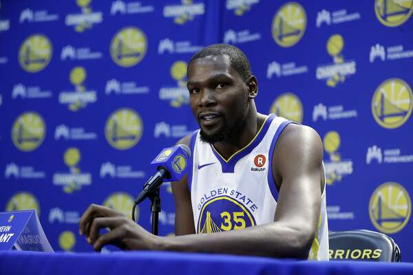 Golden State Warriors' Kevin Durant during NBA basketball team media day Friday, Sept. 22, 2017, in Oakland , Calif. (AP Photo/Marcio Jose Sanchez)