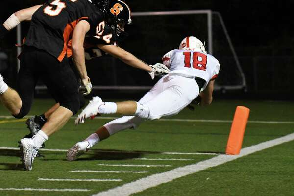 Connor Boyle (18) of the Fairfield Prep Jesuits dives into the endzone for a two point conversion during a game against the Shelton Gaels at Shelton High School on September 22, 2017 in Shelton, Connecticut.