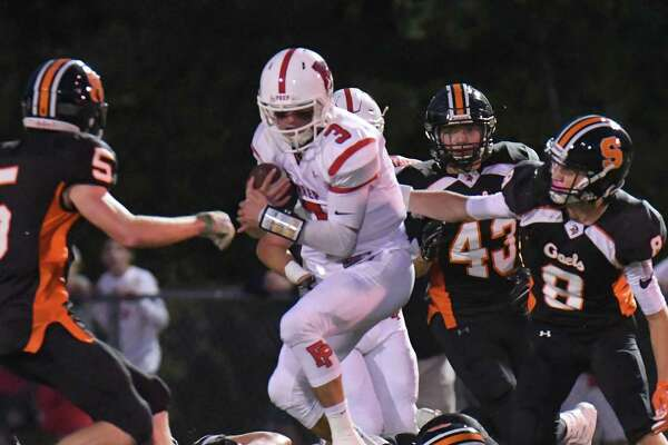Will Lucas (3) of the Fairfield Prep Jesuits looks for running room during a game against the Fairfield Prep Jesuits at Shelton High School on September 22, 2017 in Shelton, Connecticut.
