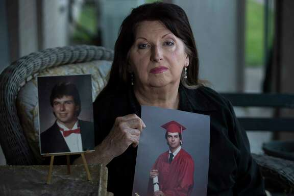 Evelyn Kelly of Pasadena, with pictures of her son, Chris Dunn, who died of cancer in December 2015 after being diagnosed in October.