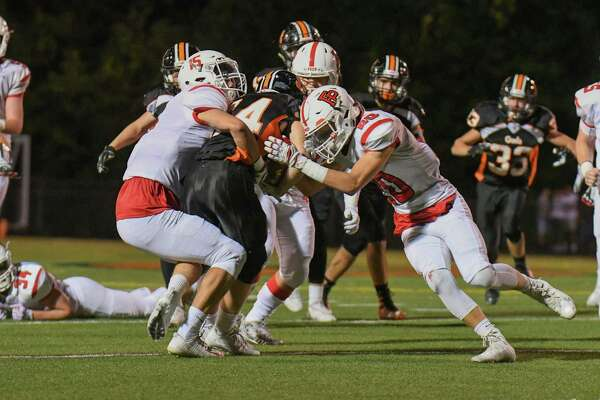 Game action between the Shelton Gaels and the Fairfield Prep Jesuits at Shelton High School on September 22, 2017 in Shelton, Connecticut.