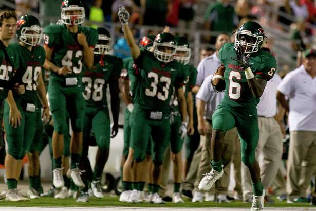 The Woodlands wide receiver Kesean Carter (6) returns a kickoff for a 75-yard touchdown during the third quarter of a non-district high school football game at Woodforest Bank Stadium, Friday, Sept. 22, 2017, in Shenandoah.