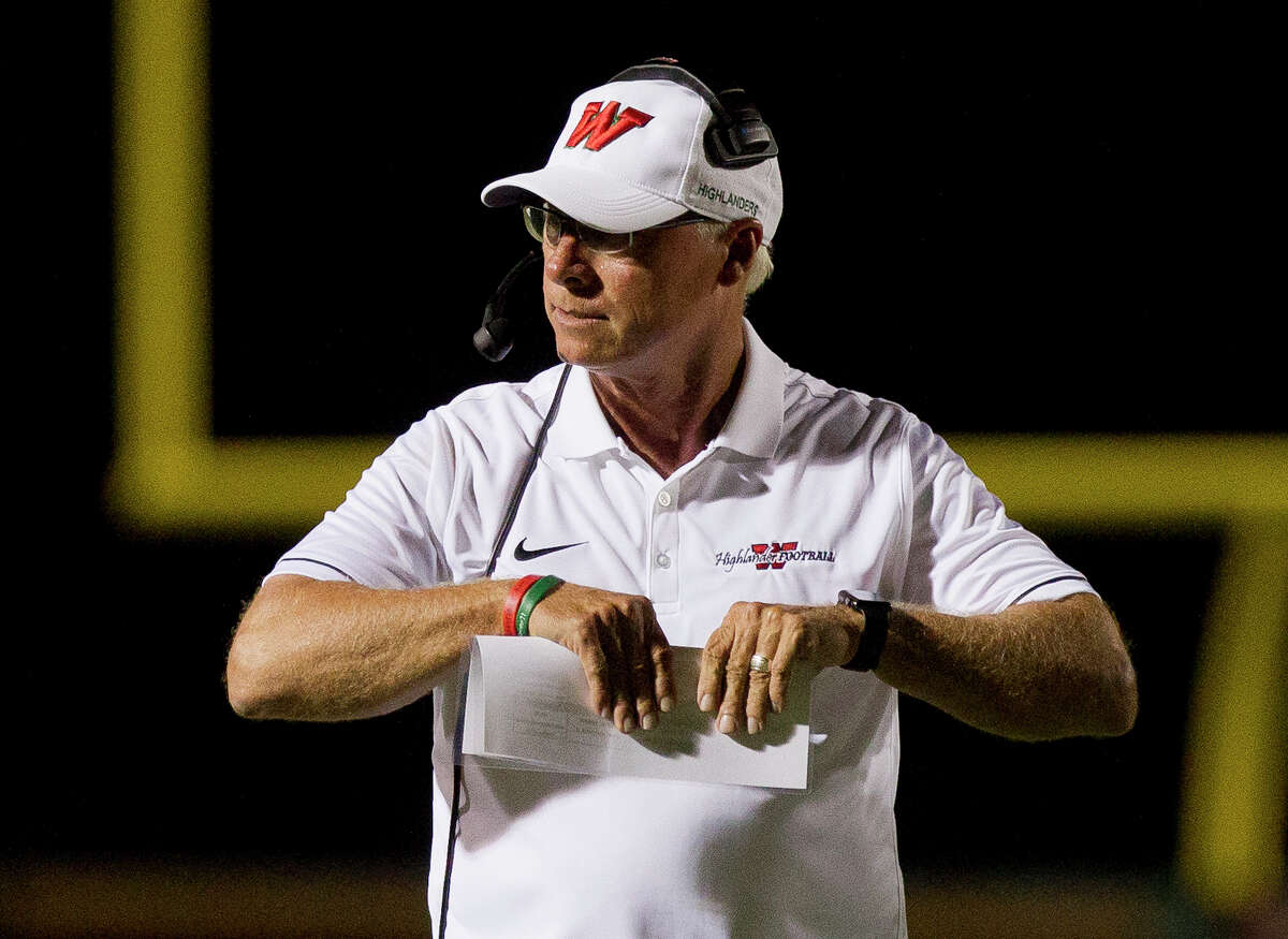 The Woodlands head coach Mark Schmid is seen during the second quarter of a non-district high school football game at Woodforest Bank Stadium, Friday, Sept. 22, 2017, in Shenandoah.