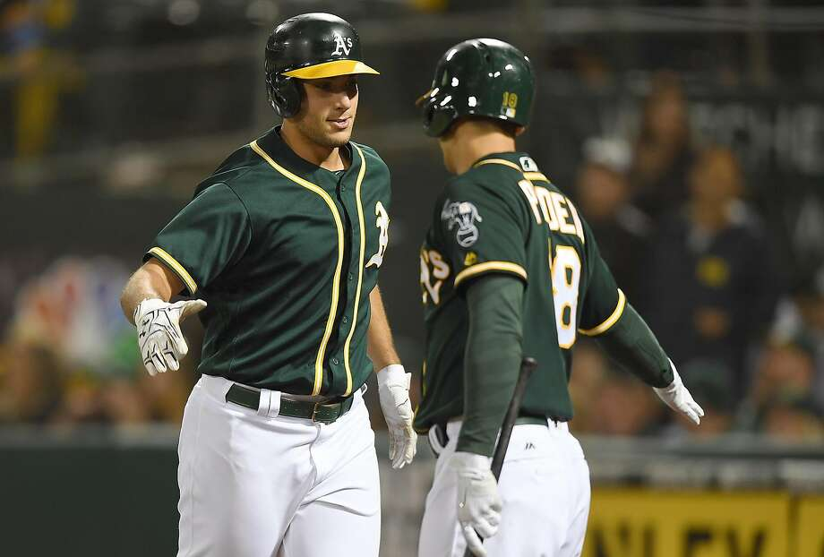 OAKLAND, CA - SEPTEMBER 22:  Matt Olson #28 of the Oakland Athletics is congratulated by Chad Pinder #18 after Olson hit a two-run homer against the Texas Rangers in the bottom of the second inning at Oakland Alameda Coliseum on September 22, 2017 in Oakland, California.  (Photo by Thearon W. Henderson/Getty Images) Photo: Thearon W. Henderson, Getty Images