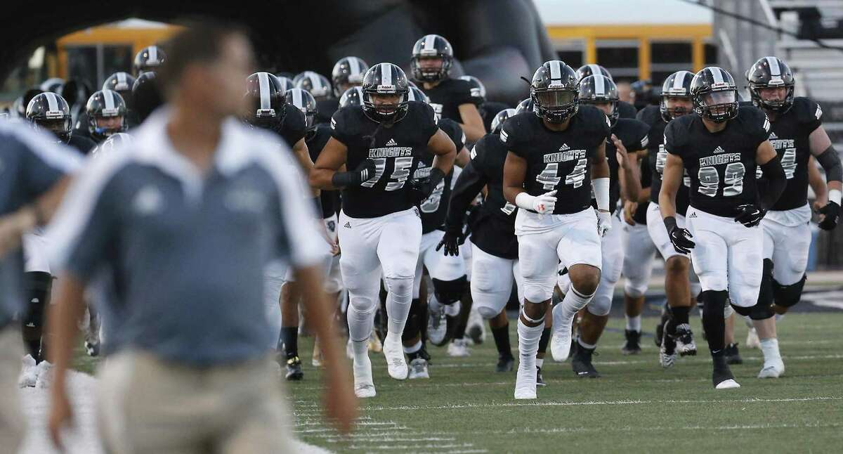 The Steele Knights take the field against Smithson Valley in high school football at Lenhoff Stadium on Friday, Sept. 22, 2017.