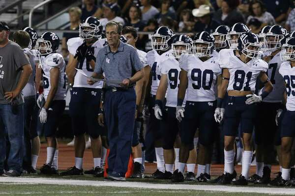Smithson Valley head coach Larry Hill (center) guides the Rangers against Steele in high school football at Lenhoff Stadium on Friday, Sept. 22, 2017. (Kin Man Hui/San Antonio Express-News)