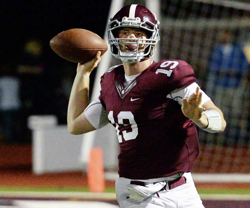Burnt Hills' quarterback Darien Lapietro fires off a pass during Friday night's game against Averill Park Sept. 22, 2017 in Burnt Hills, NY. (John Carl D'Annibale / Times Union)