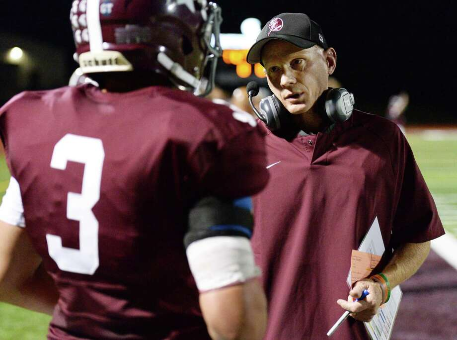 Burnt Hills coach Matt Shell with player #3 Jeremy Clayton on the sidelines during Friday night's game against Averill Park Sept. 22, 2017 in Burnt Hills, NY.  (John Carl D'Annibale / Times Union) Photo: John Carl D'Annibale / 20041600A