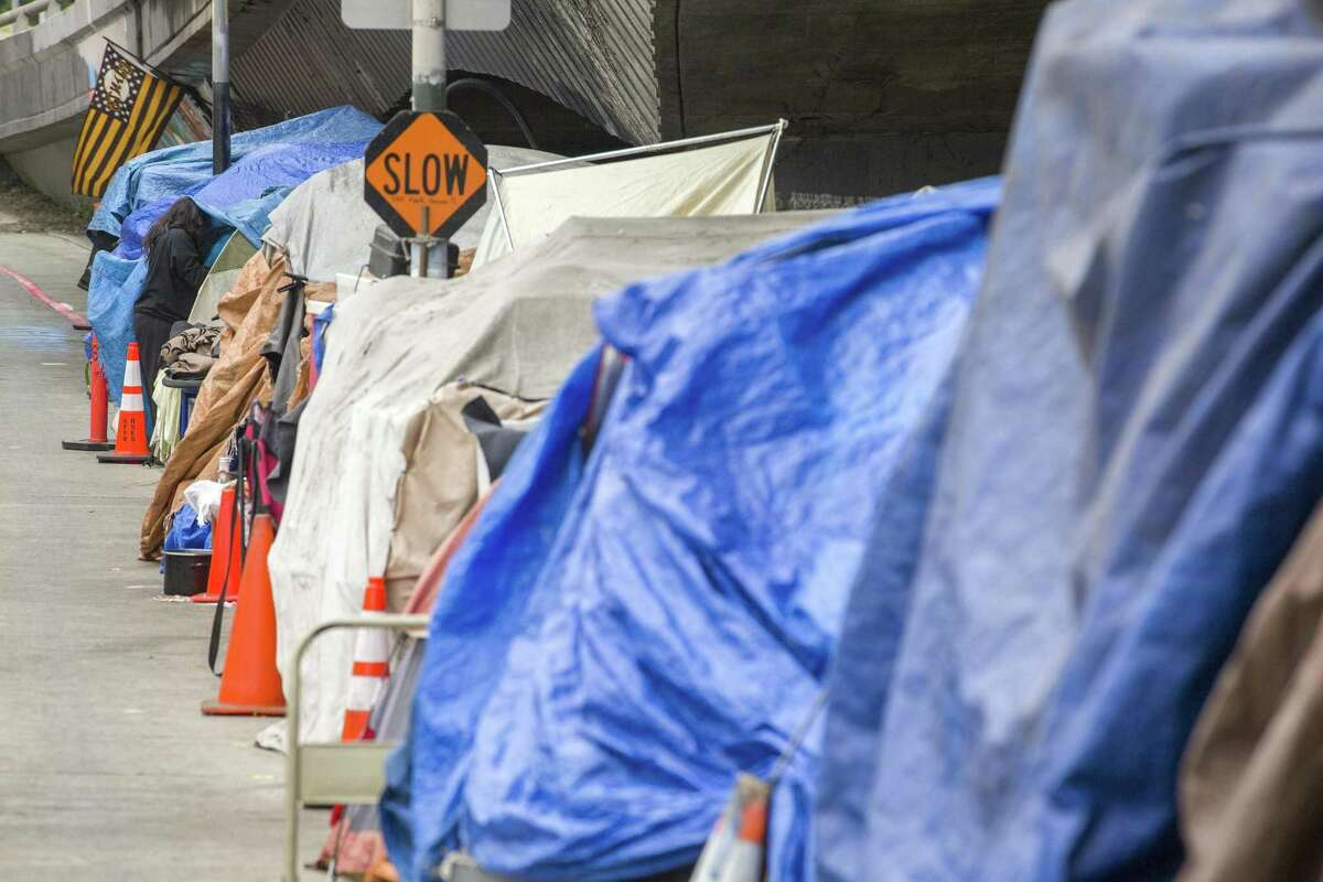 A homeless encampment near Cesar Chavez Street and Potrero Avenue.
