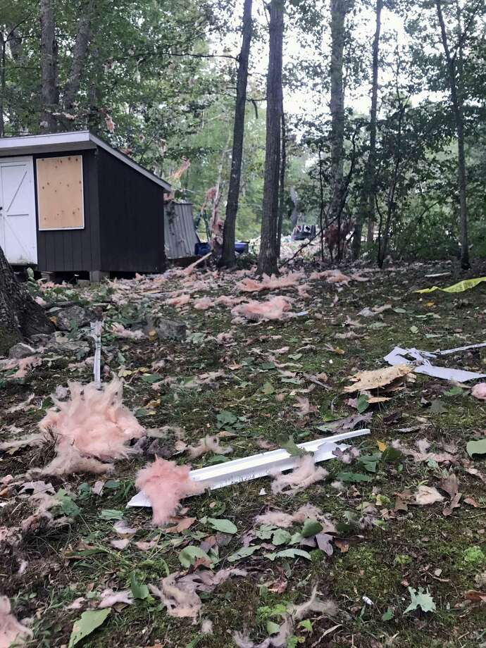 The scene of the propane gas explosion at Evergreen Springs Trailer Park in Clinton. State Police the state Fire Marshall and local police were investigating the site. Neighbors homes were also damaged by the blast. Photo: Sarah Page Kyrcz