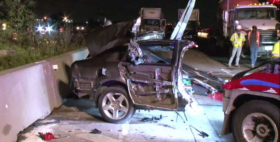 A wrong-way wreck left a car split in half. Photo: Metro Video