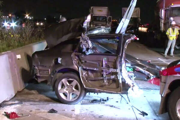 A wrong-way wreck left a car split in half.