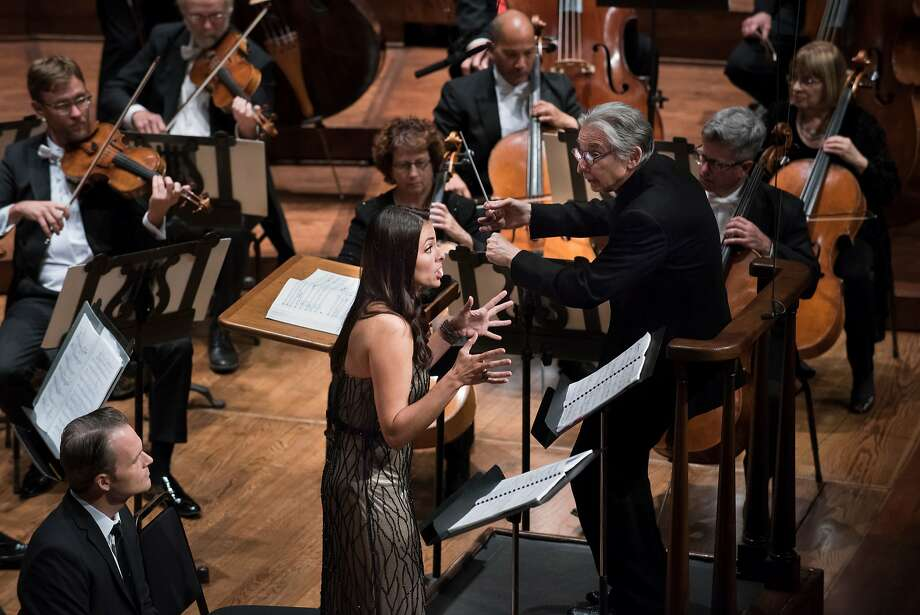 "Isabel Leonard sings Leonard Bernstein's ""Arias and Barcarolles"" with the San Francisco Symphony under the direction of Michael Tilson Thomas. Photo: Stefan Cohen/SF Symphony"