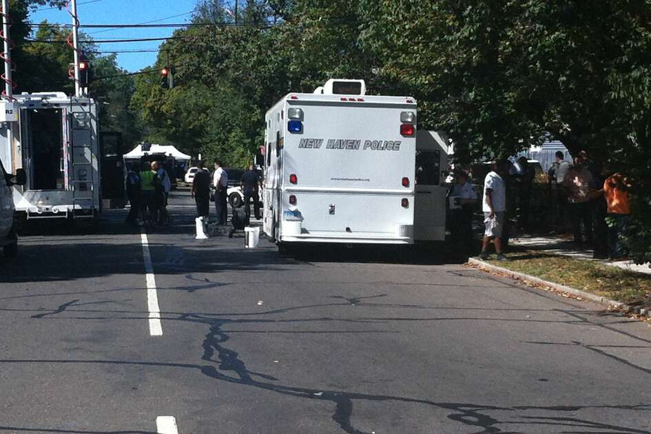 Three people have been shot and a gunman was keeping police at bay at 642  Elm St. in New Haven on Saturday.