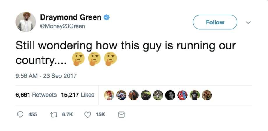 NBA players, fans, media react to the Trump-Warriors feudWarriors power forward Draymond Green. Photo: Twitter