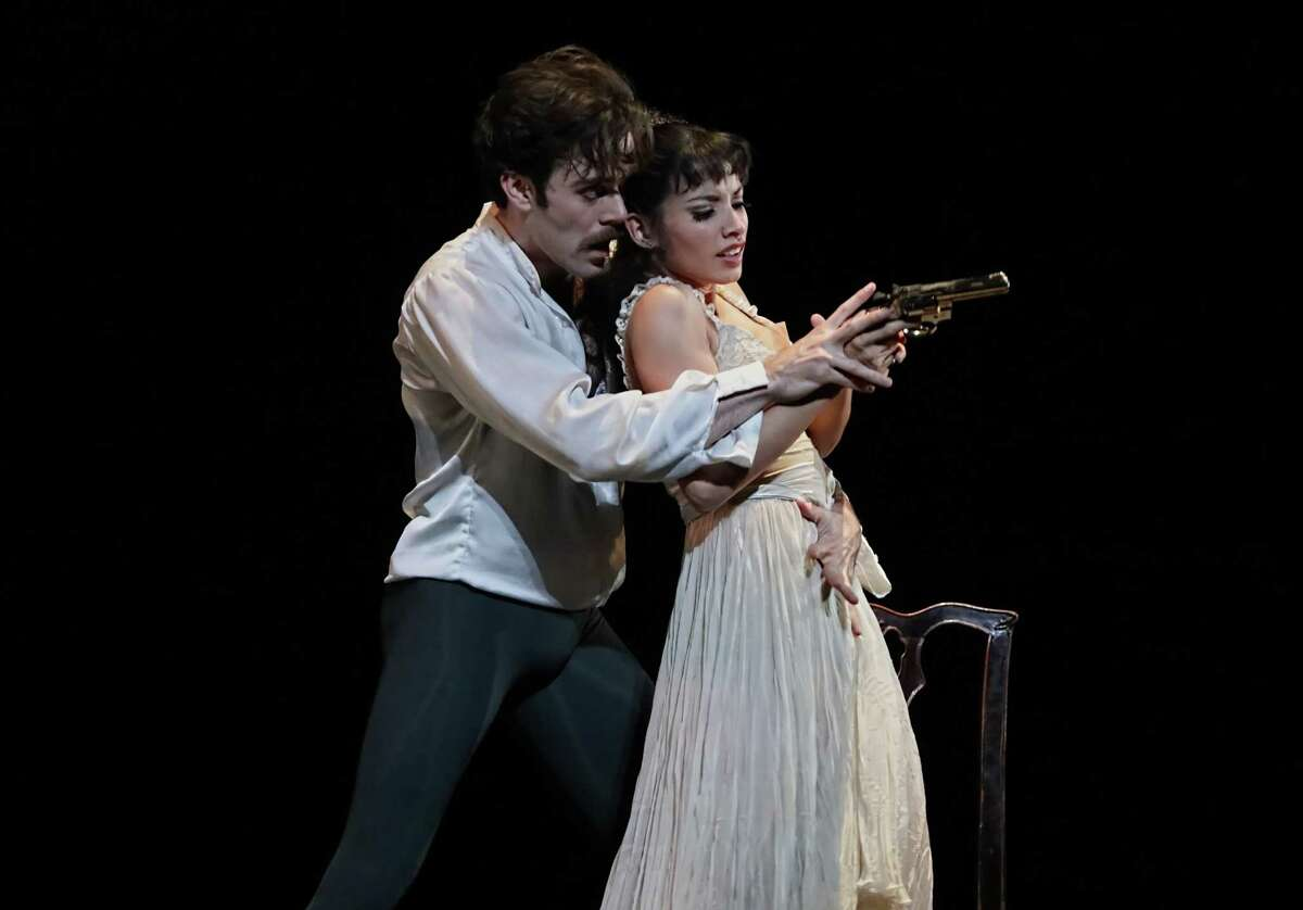 """Houston Ballet's Karina Gonzazez as Baroness Mary Vetsera and Connor Walsh as Crown Prince Rudolf, the death-obsessed lovers at the heart of """"Mayerling."""""""