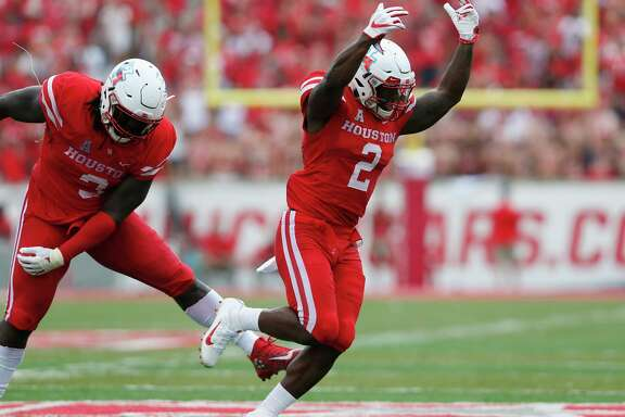 Houston Cougars safety Khalil Williams (2) celebrates a sack in the second quarter during the NCAA football game between the Texas Tech Red Raiders and the Houston Cougars at TDECU Stadium in Houston, TX on Saturday, September 23, 2017.
