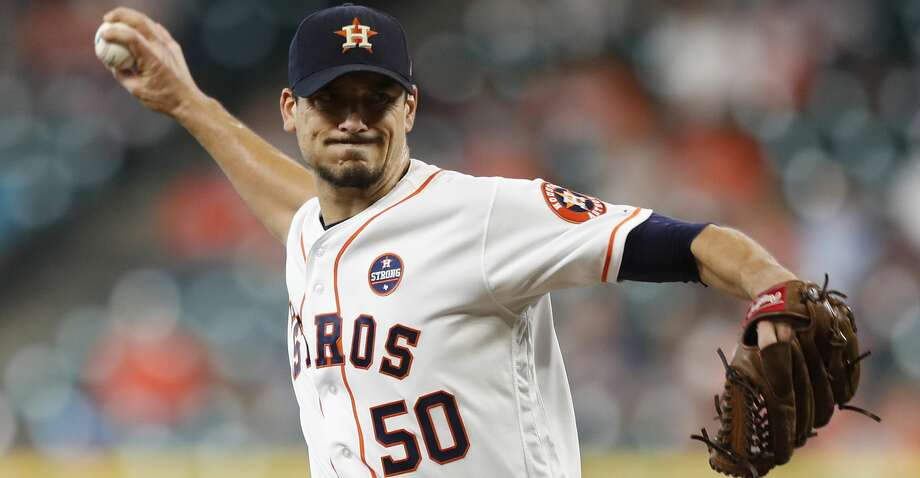 Houston Astros starting pitcher Charlie Morton (50) pitches during the first inning of an MLB baseball game at Minute Maid Park, Saturday, Sept. 23, 2017, in Houston.  ( Karen Warren / Houston Chronicle ) Photo: Karen Warren/Houston Chronicle