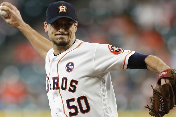 Houston Astros starting pitcher Charlie Morton (50) pitches during the first inning of an MLB baseball game at Minute Maid Park, Saturday, Sept. 23, 2017, in Houston.  ( Karen Warren / Houston Chronicle )