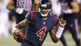 Houston Texans quarterback Deshaun Watson (4) runs the ball in the second half of an NFL football game against the Cincinnati Bengals, Thursday, Sept. 14, 2017, in Cincinnati.