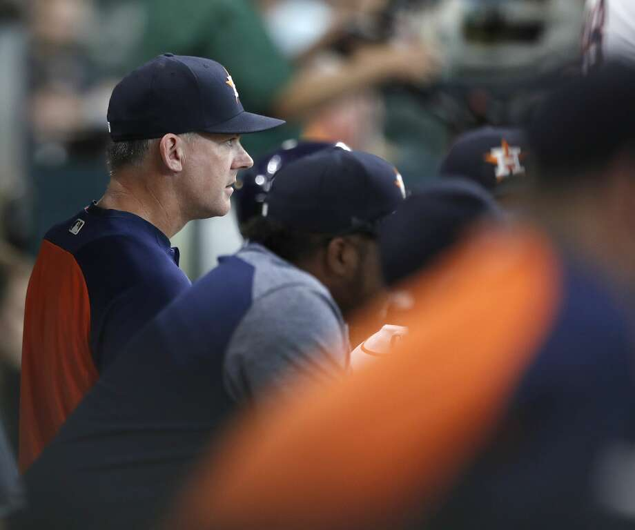 Houston Astros manager A.J. Hinch (14) in the dugout during the sixth inning of an MLB baseball game at Minute Maid Park, Saturday, Sept. 23, 2017, in Houston.  ( Karen Warren / Houston Chronicle ) Photo: Karen Warren/Houston Chronicle