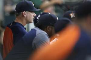 Houston Astros manager A.J. Hinch (14) in the dugout during the sixth inning of an MLB baseball game at Minute Maid Park, Saturday, Sept. 23, 2017, in Houston.  ( Karen Warren / Houston Chronicle )