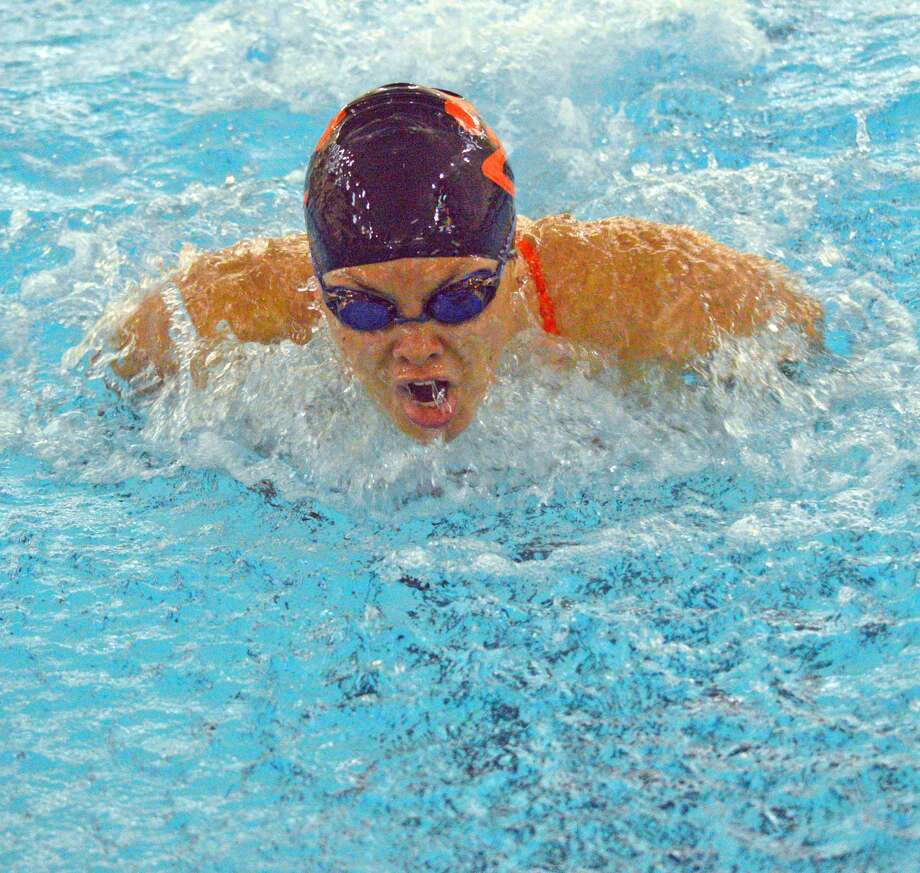 Edwardsville senior Hannah Benson swims in the 100-yard butterfly during Saturday's triangular meet against Springfield Sacred Heart-Griffin and Springfield High at Chuck Fruit Aquatic Center.