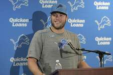 Detroit Lions quarterback Matthew Stafford speaks during a news conference.