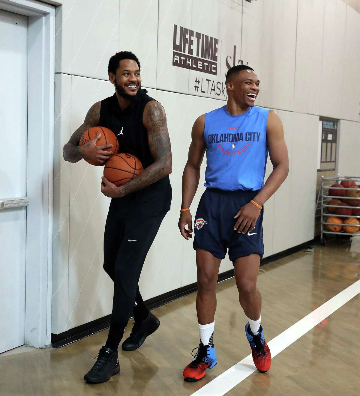 NEW YORK, NY - SEPTEMBER 11: Carmelo Anthony and Russell Westbrook attend Black Ops Basketball Session at Life Time Athletic At Sky on September 11, 2017 in New York City. (Photo by Shareif Ziyadat/Getty Images)