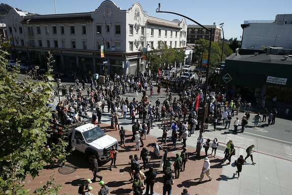Hundreds of protestors demonstrate at UC Berkeley near Sproul Plaza on Saturday, Sept. 23, 2017, in Berkeley, Calif. The rally protested the far right's Free Speech Week, which earlier UC Berkeley officials said it was cancelled.