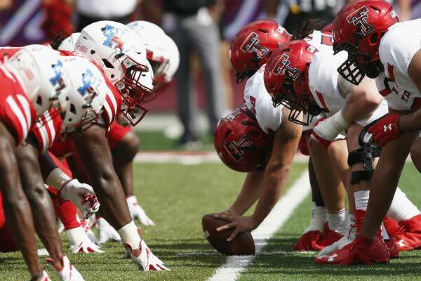 A view down the line of scrimmage in the first quarter during the NCAA football game between the Texas Tech Red Raiders and the Houston Cougars at TDECU Stadium in Houston, TX on Saturday, September 23, 2017.