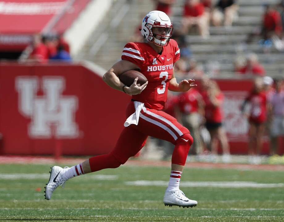 Houston Cougars quarterback Kyle Postma (3) scrambles in the fourth quarter during the NCAA football game between the Texas Tech Red Raiders and the Houston Cougars at TDECU Stadium in Houston, TX on Saturday, September 23, 2017. Photo: Tim Warner/For The Chronicle