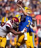 California quarterback Ross Bowers (3) is hit as he throws by Southern California�s Oluwole Betiku Jr. (99) during the fourth quarter of an NCAA football game, on Saturday, Sept. 23, 2017 in Berkeley, Calif. USC won 30-20.
