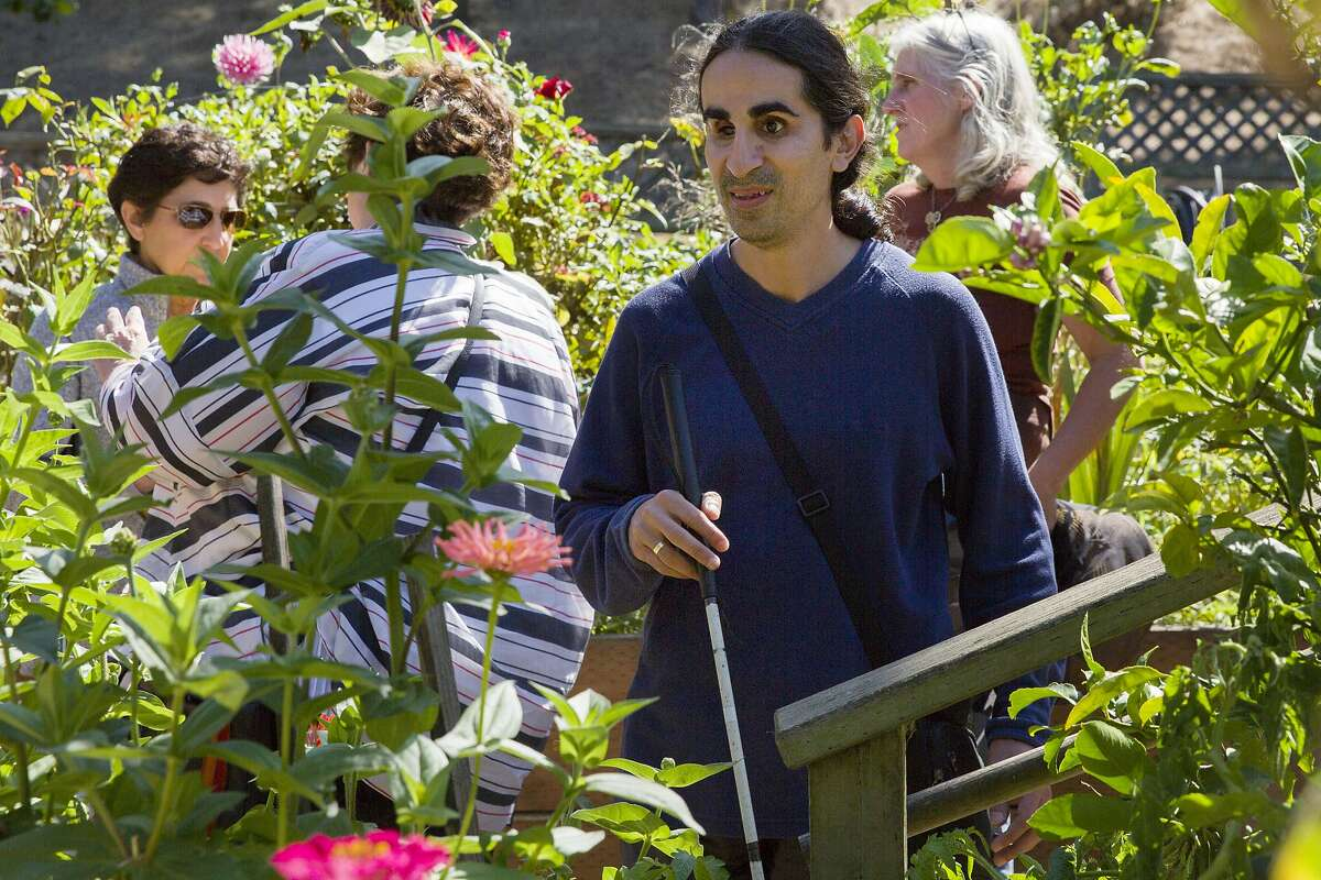 Ahmet Ustunel at the Connecticut Friendship Garden on Thursday, Sept. 21, 2017, in San Francisco, Calif. Ustunel, a blind kayaker, is one of the three inaugural winners of the Holman Prize for Blind Ambition, a $25,000 award for blind and low vision adventurers offered by the LightHouse for the Blind and Visually Impaired in San Francisco.