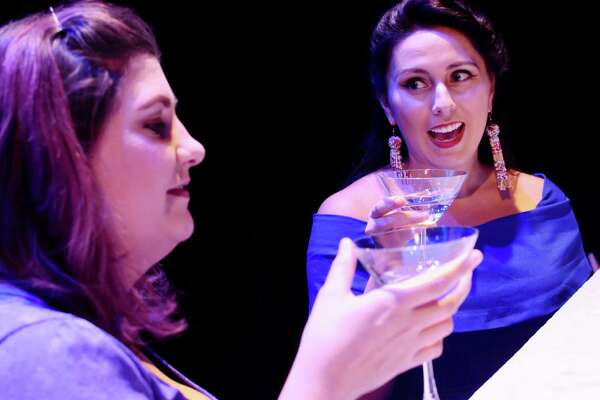 """Mezzo sopranos Jamie Lowe, from left, and Kara Smoot look for """"Mr. Right"""" as part of the ensemble cast of """"Speed Dating Tonight,"""" the season opener for the Alamo City Opera."""