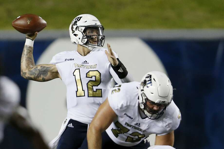 HOUSTON, TX - SEPTEMBER 23:  Alex McGough #12 of the FIU Golden Panthers throws a pass in the third quarter against the Rice Owls at Rice Stadium on September 23, 2017 in Houston, Texas.  (Photo by Tim Warner/Getty Images) Photo: Tim Warner/Getty Images