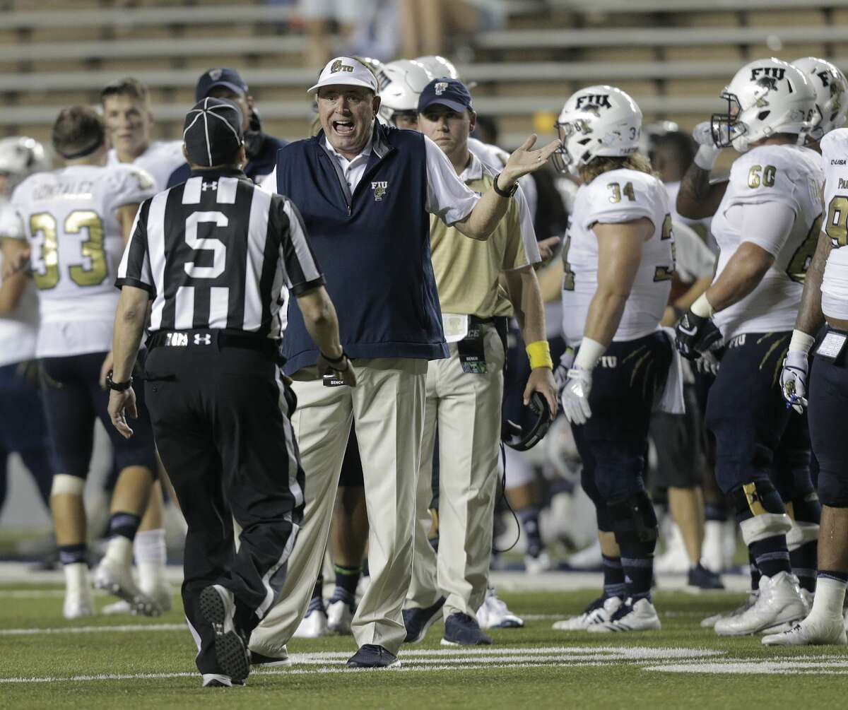 FIU Golden Panthers head coach Butch Davis reacts to a safety call in the fourth quarter that was later overturned against Rice Owls at Rice Stadium on Saturday, Sept. 23, 2017, in Houston. FIU Golden Panthers won the game 13-7. ( Elizabeth Conley / Houston Chronicle )