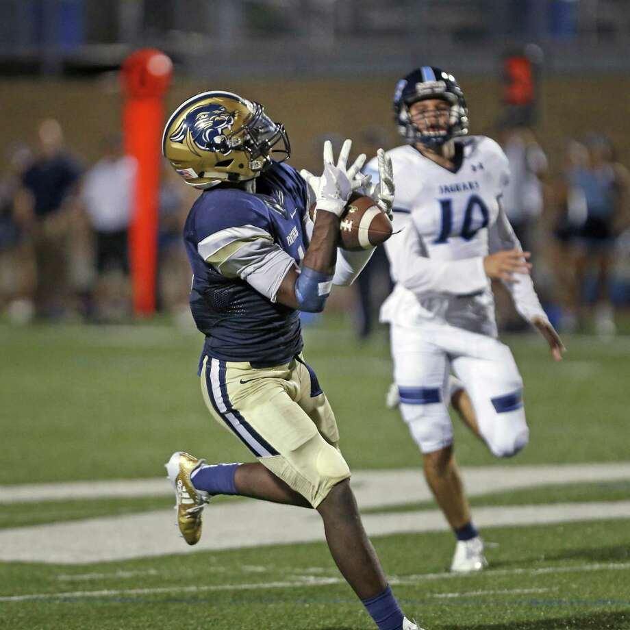 OÕConnorÕs Jalen Hughes hauls in a 78 yard TD reception to put O'Connor ahead for good from O'Connor vs. Johnson HS football on Saturday,Sept. 23, 2017 at Farris Stadium Photo: Ron Cortes, Freelance / For The San Antonio Express-News