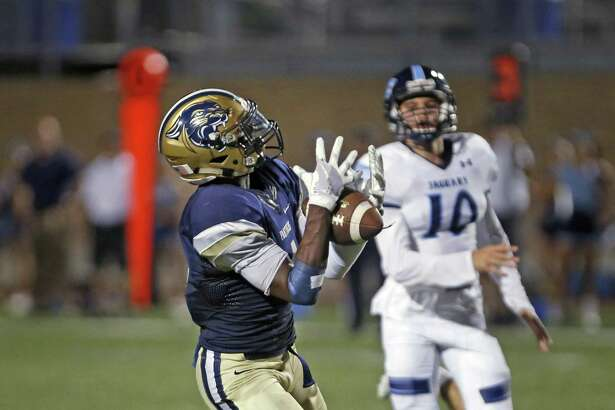 OÕConnorÕs Jalen Hughes hauls in a 78 yard TD reception to put O'Connor ahead for good from O'Connor vs. Johnson HS football on Saturday,Sept. 23, 2017 at Farris Stadium