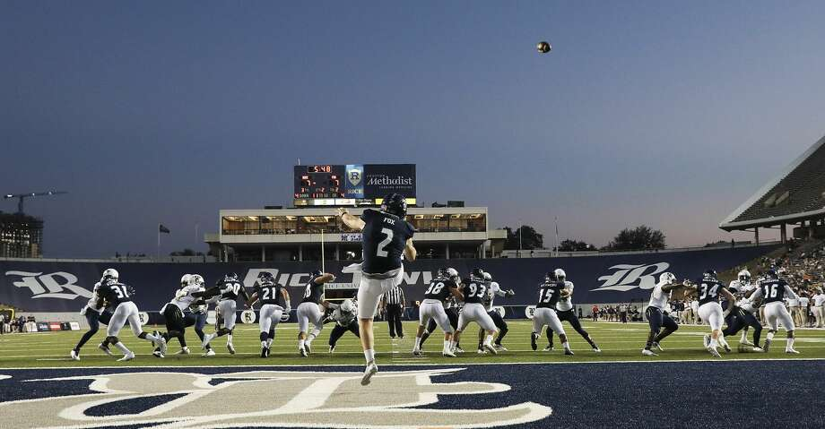 Rice Owls place kicker Jack Fox (2) punts the ball out of the endzone during game action agianst FIU at Rice Stadium on Saturday, Sept. 23, 2017, in Houston. ( Elizabeth Conley / Houston Chronicle ) Photo: Elizabeth Conley/Houston Chronicle