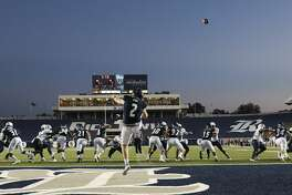 Rice Owls place kicker Jack Fox (2) punts the ball out of the endzone during game action agianst FIU at Rice Stadium on Saturday, Sept. 23, 2017, in Houston. ( Elizabeth Conley / Houston Chronicle )