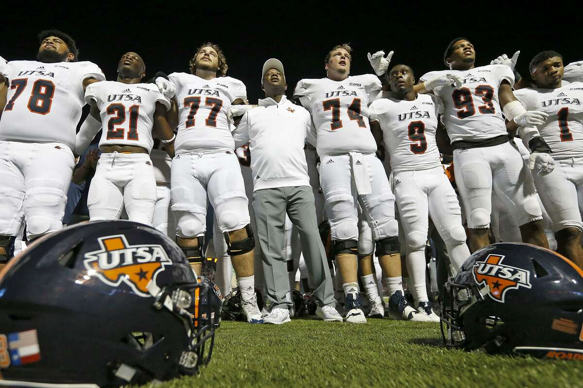 UTSA head coach Frank Wilson, shown in a file photo with his team, said the Roadrunners are focused on winning this week and not looking ahead to the slim chance of winning the Conference USA West Division title.