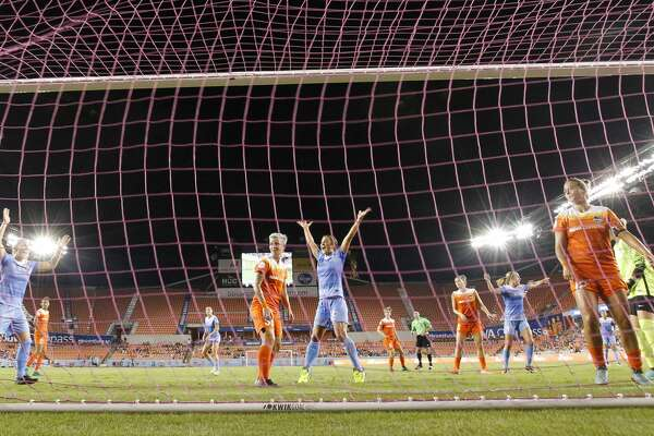 Chicago Red Stars celebrate Christen Press' goal gainst Houston Dash during the first half of the game at BBVA Compass Stadium Saturday, Sept. 23, 2017, in Houston. ( Yi-Chin Lee / Houston Chronicle )