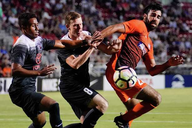 RGV FC Toros play San Antonio FC during the first half of a USL soccer match, Saturday, Sept 23, 2017, at Toyota Field in San Antonio.